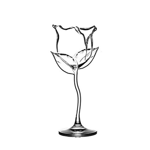 Mjuan Red Wine Glass, Crystal Glass Pure Stemware Collection, Blanc/Rose/, Wine Glass, 10-Ounce, Red Rose Shape, Wine Glass for Valentines Day-Birthday, Unique Gift for Wine Enthusiasts (Rose Shape)