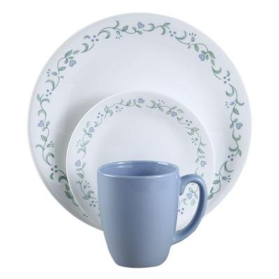 Country Cottage Floral Banded on White 16-Piece Vitrelle Dinnerware ()