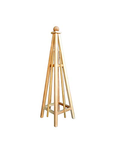Woodbrute 5' Cedar Obelisk with Sphere Finial Top, Garden Pyramid, Trellis ()
