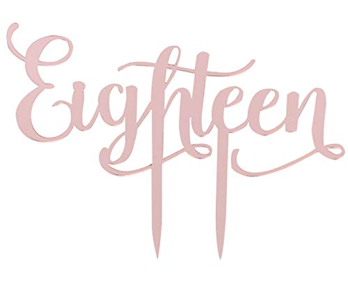 (Rose Gold Eighteen Cake Topper for Baptism Christening Dedication or First Communion Baby Shower Decoration Supplies Acrylic Sign)