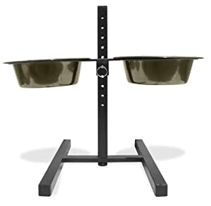 Platinum Pets Adjustable Raised Feeder Stand with Two Black Chrome Bowls, 16-Inch