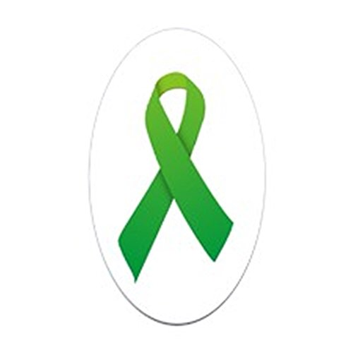 (CafePress Green Ribbon Oval Bumper Sticker, Euro Oval Car Decal)