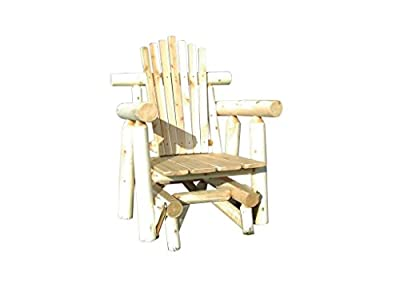 Rustic Outdoor White Cedar Log Adirondack Glider Chair- Amish Made in the USA