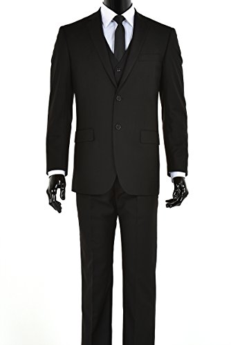 Elegant Men's Black Two Button Three Piece Suit (42 Regular) - Black Italian Suit