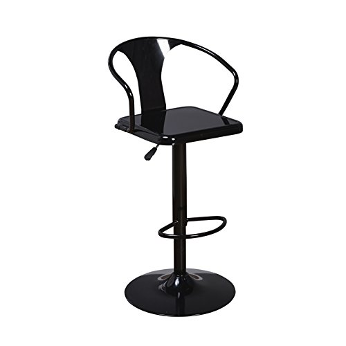 Target Marketing Systems Max Industrial Metal Adjustable Swivel Bar Stool with Arms, Gas Lift, and Foot Rest, Black