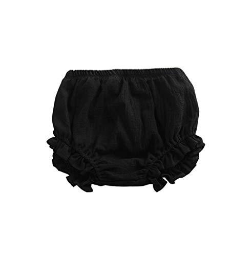 AYIYO Newborn Toddler Baby Girls Kids Cotton Linen Bloomer Shorts Diaper Cover (2~3 Years old/2T, Black)