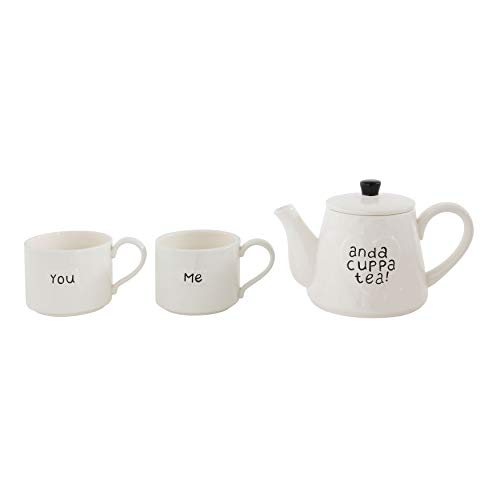 "Creative Co-Op""You Me and a Cuppa Tea"" White Stoneware Teapot with 2 Mugs"