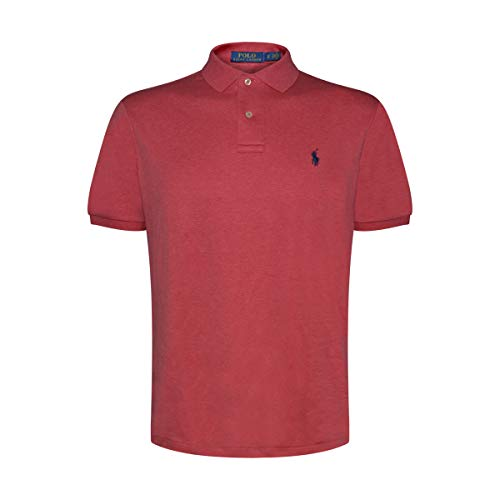 Ralph Lauren Polo Mens Medium Fit Interlock Polo Shirt (Medium, Red -