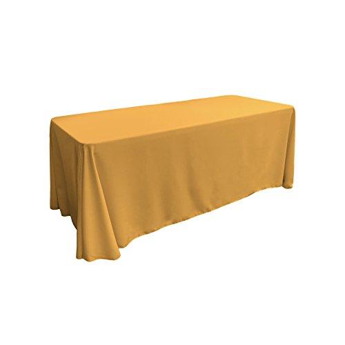 LA Linen Polyester Poplin Rectangular Tablecloth, 90 by 132-Inch, (Gold 3 Panel Floor Screen)