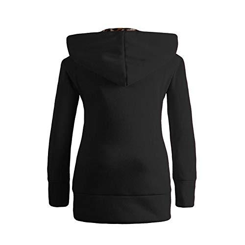 Sweat Grande Uface Taille Femmes Et Capuche Léopard Velours Pull À shirt Noir Blouse Zippé Sweater wPxYTPHa