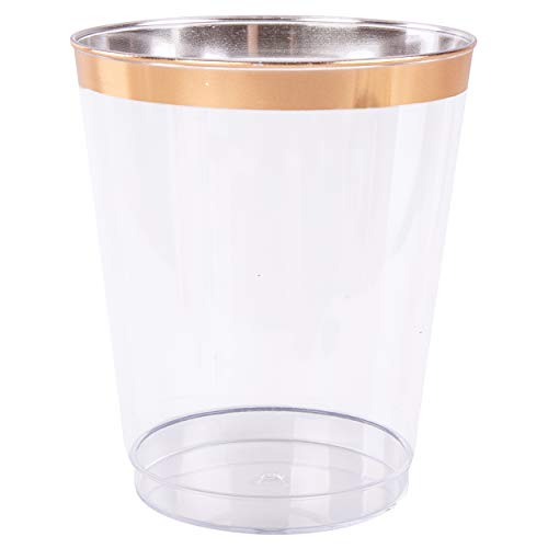 Plastic Disposable Cup 14 oz Tumblers (100 Pack) - Clear Drinkware with Rose Gold Rim Perfect for Weddings and Parties