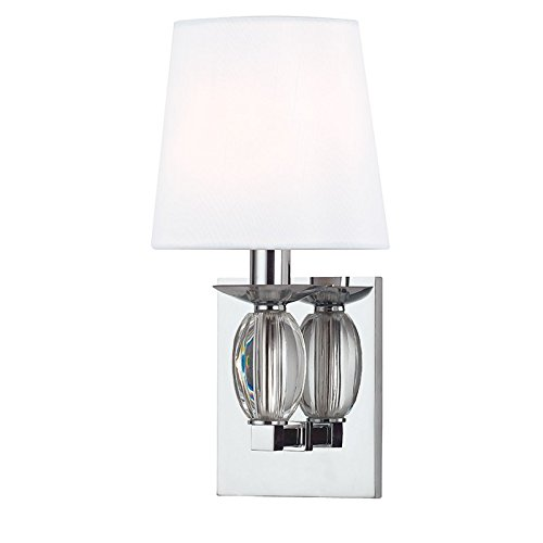 - Cameron 1-Light Wall Sconce - Polished Chrome Finish with White Faux Silk Shade