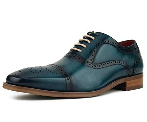 Asher Green Men's Genuine Leather Cap Toe Oxford with Decorative Broguing Lace Up Dress Shoe, Style AG114 Teal ()