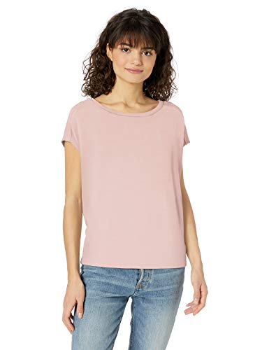 (Amazon Brand - Daily Ritual Women's Cozy Knit Dolman Short-Sleeve Tie-Back Shirt, Pink, Small)