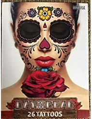 (Floral Day of the Dead Sugar Skull Temporary Face Tattoo)