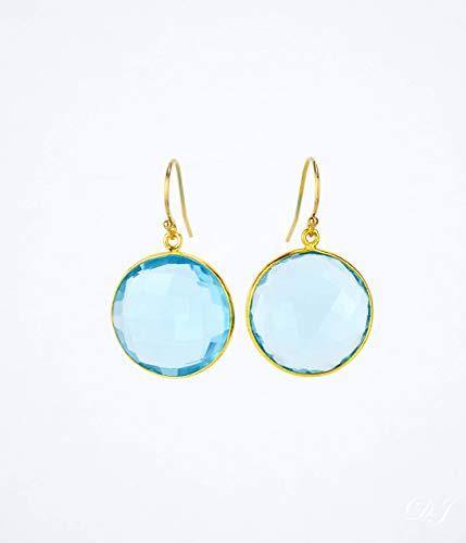 Blue Topaz round earrings, December Birthstone Earrings, dangle earrings, bridesmaid earrings gemstone ()