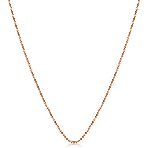 Kooljewelry 14k Rose Gold Bead Ball Chain Necklace (1.2 mm, 18 inch)