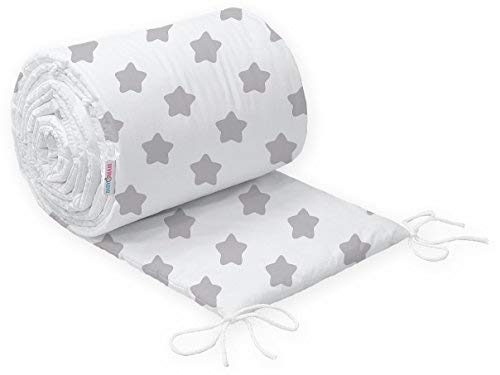 Big Grey Stars on White Flyinghedwig Baby Padded Bumper 100/% Cotton for COT Bed 140x70 Straight 190CM