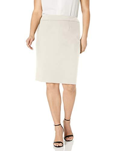 Calvin Klein Women's Straight Fit Suit Skirt (Regular and Plus Sizes), Cream, 12