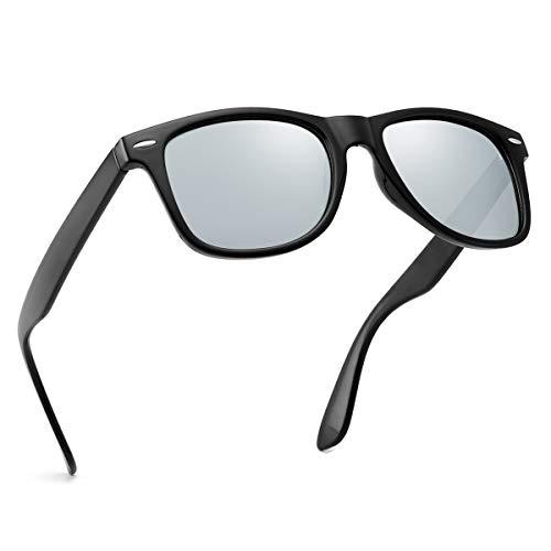 (Polarized Sunglasses For Men Women Retro TR90 Frame Square Shades Vintage BRAND DESIGNER Classic Sun Glasses)