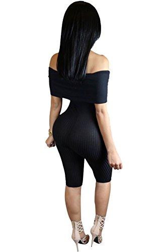 Neue Damen Schwarz Gerippte der Schulter kurze Länge einteiligen Skinny Jumpsuits Catsuit Spielanzug Bodysuit Club Wear Kleidung Größe M UK 10