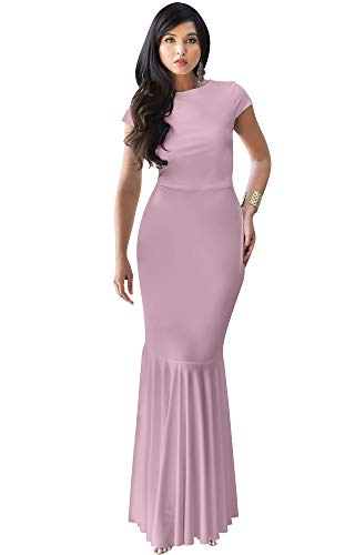 KOH KOH Womens Long Cap Short Sleeve Formal Sexy Evening Prom Cocktail Bridesmaids Wedding Party Guest Tube Flowy Cute Fishtail Gown Gowns Maxi Dress Dresses, Dusty Pink M 8-10