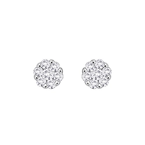 Diamond Floral Stud (Diamond Floral Stud Earrings in 10K Yellow Gold (1/5 cttw) (JK-Color, I1/I2-Clarity))