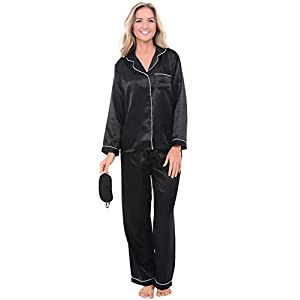 Alexander Del Rossa Womens Solid Color Satin Pajamas, Long Button-Down Pj Set and Mask