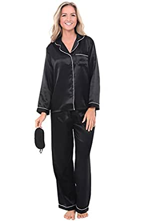 Alexander Del Rossa Womens Satin Pajamas, Long Button-Down Pj Set and Mask, XS Black with Cream Piping (A0750BKPXS)