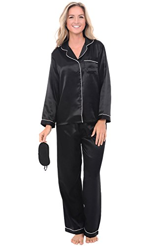 (Alexander Del Rossa Womens Satin Pajamas, Long Button-Down Pj Set and Mask, Medium Black with Cream Piping (A0750BKPMD))