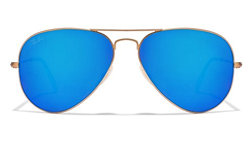 Ray-Ban Aviator Large Metal Light Mirrored Sunglasses MATTE GOLD FRAME  BLUE FLASHED MIRRORED LENS 58 mm