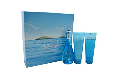 Cool Water By Davidoff 3 Piece Set : 3.4 Oz EDT Spray+2.5 Oz Moisturizing Body Lotion+2.5 Oz Gentle Shower Breeze(shower Gel) for Women