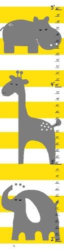 Friends Height Chart (Green Leaf Art Gray Animals Friends Growth)