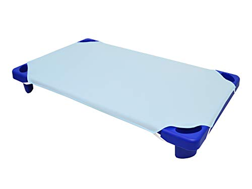 American Baby Company 100% Natural Cotton Percale Toddler Day Care Cot Sheet, Blue, 23 x 40, Soft Breathable, for Boys and Girls