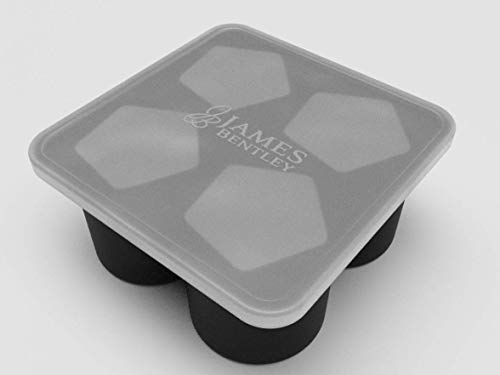 James Bentley Special 2 X Ice Mold Tray cube Maker Mold - Black Flexible Silicone Ice Tray - Molds 4 X 4.5cm Pentagon twisted Ice cube Large & Big