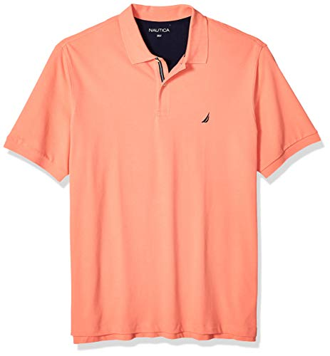 Nautica Men's Big and Tall Short Sleeve Solid Deck Polo Shirt, Pale Coral, 4X (Performance Deck)