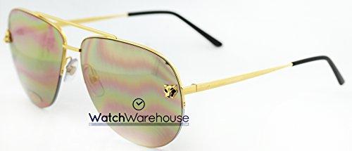 Cartier Panthere Aviator Mirror Lenses Gold Metal Men Eyewear ESW00094 - Cartier Eyewear