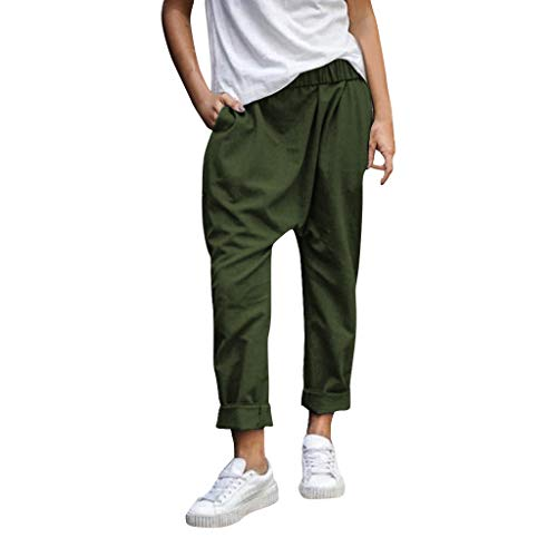 JOFOW Baggy Pants Womens Harem Cotton Linen Casual Long Loose Solid Tapered Joggers Sweatpants Low Waist Saggy Yoga Trousers (3XL,Dark Green) -