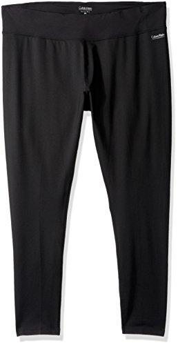 Calvin Klein Performance Women's Plus Size Full Length Back Shirring Running Tight, Black, 2X