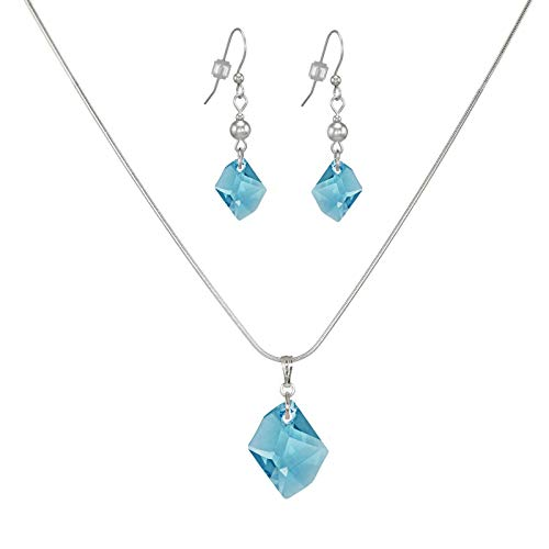*SALE* Fast-and-Free-Shipping - Swarovski Crystal Aquamarine Cosmic Sterling Silver Necklace and Earring ()