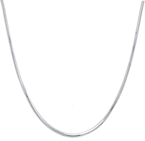 1mm Chain Snake Necklace (925 Sterling Silver Italian 1mm 8 Side Diamond Cut Snake Chain Crafted Necklace Strong - Lobster Claw Clasp/Extra Gifts (24, sterling-silver))