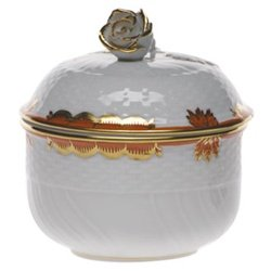 (Herend Princess Victoria Rust Porcelain Covered Sugar With)