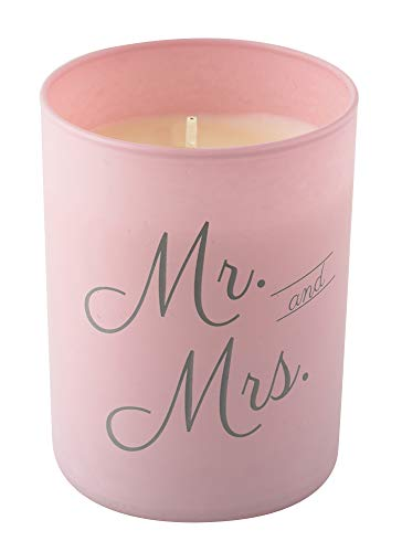 Wedding Collection Mrs. Candle, Peony Petals Scented Soy Candle in Pink Matte Jar Hand Poured in the USA by Flamme Candle Co. ()