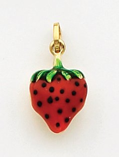 Quality Gold Red/Green/Black Enameled Strawberry Charm, 14K Yellow Gold