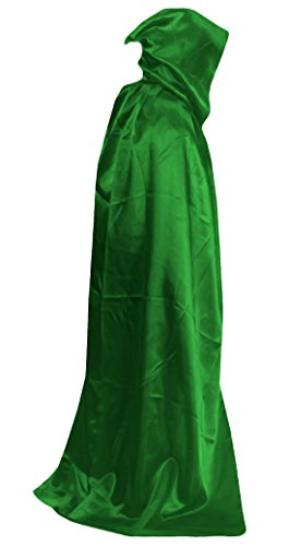 Marvoll Lycra Spandex Deluxe Cloak Halloween Props Cape Costume (210cm, Green) (Plus Size Female Superhero Costumes)