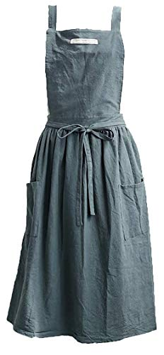 ReLU House Soft Washed Cotton Aprons for Women with 2 Pockets for Cooking, Baking, Crafting, Flower Arrangement (Dark Grey, L)