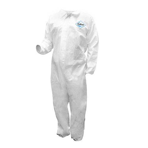 Microporous Film Disposable Coveralls (Hospeco DA-MP321 ProWorks Microporous Liquid and Particulate Protection Coverall, Disposable, Elastic Cuff, White, Large (Case of 12))