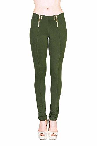 Textured Skinny Pants (09 Olive, Size S) (09 Olive)