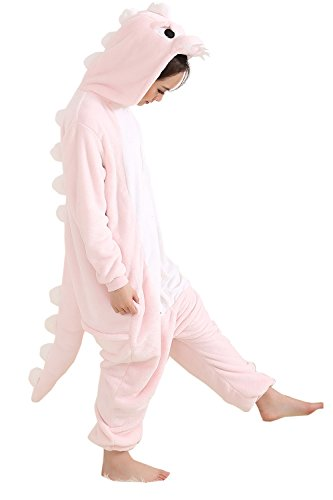 Best Halloween Costumes Ideas For Couples (Duraplast Adult Halloween Dragon Costume One-Piece Hooded Onesie Pajamas (Pink,L))