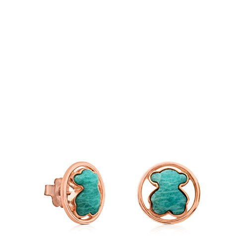 (TOUS Camille Earrings in Rose Vermeil Silver with Amazonite.)